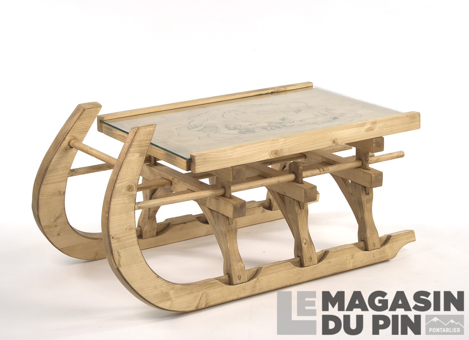 Luge En Bois Table Basse : Pin massif > Tables basses > Table basse luge PM Traineau