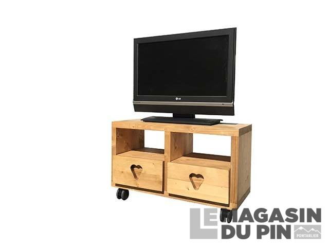 Meuble tv en pin massif 2 tiroirs sur roulettes le magasin for Meuble tv roulettes
