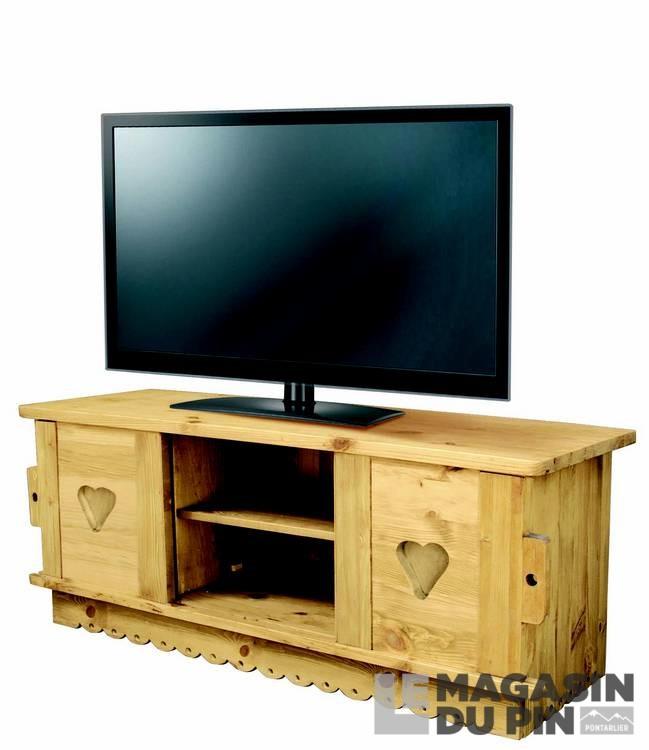 Meuble Tv En Pin Massif Ecran Plat 2 Portes Le Magasin Du Pin