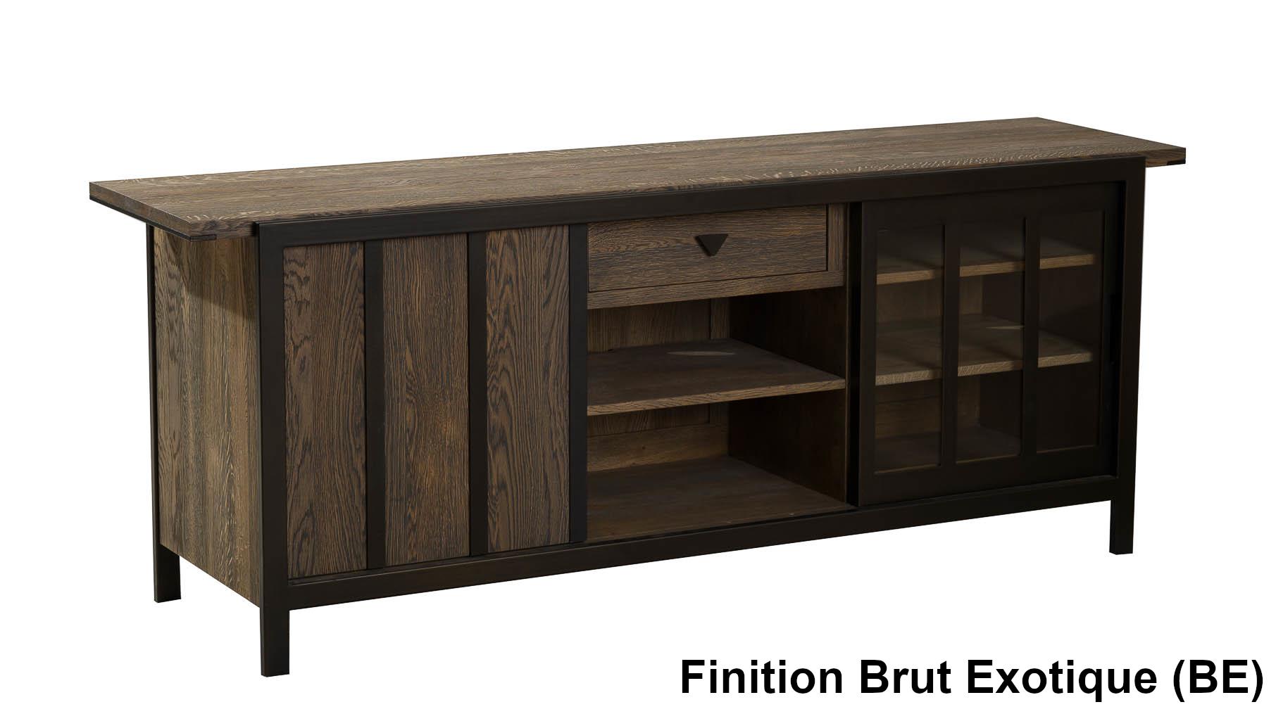 Meuble En Sapin Brut meuble tv 1+1 portes 180cm verrière