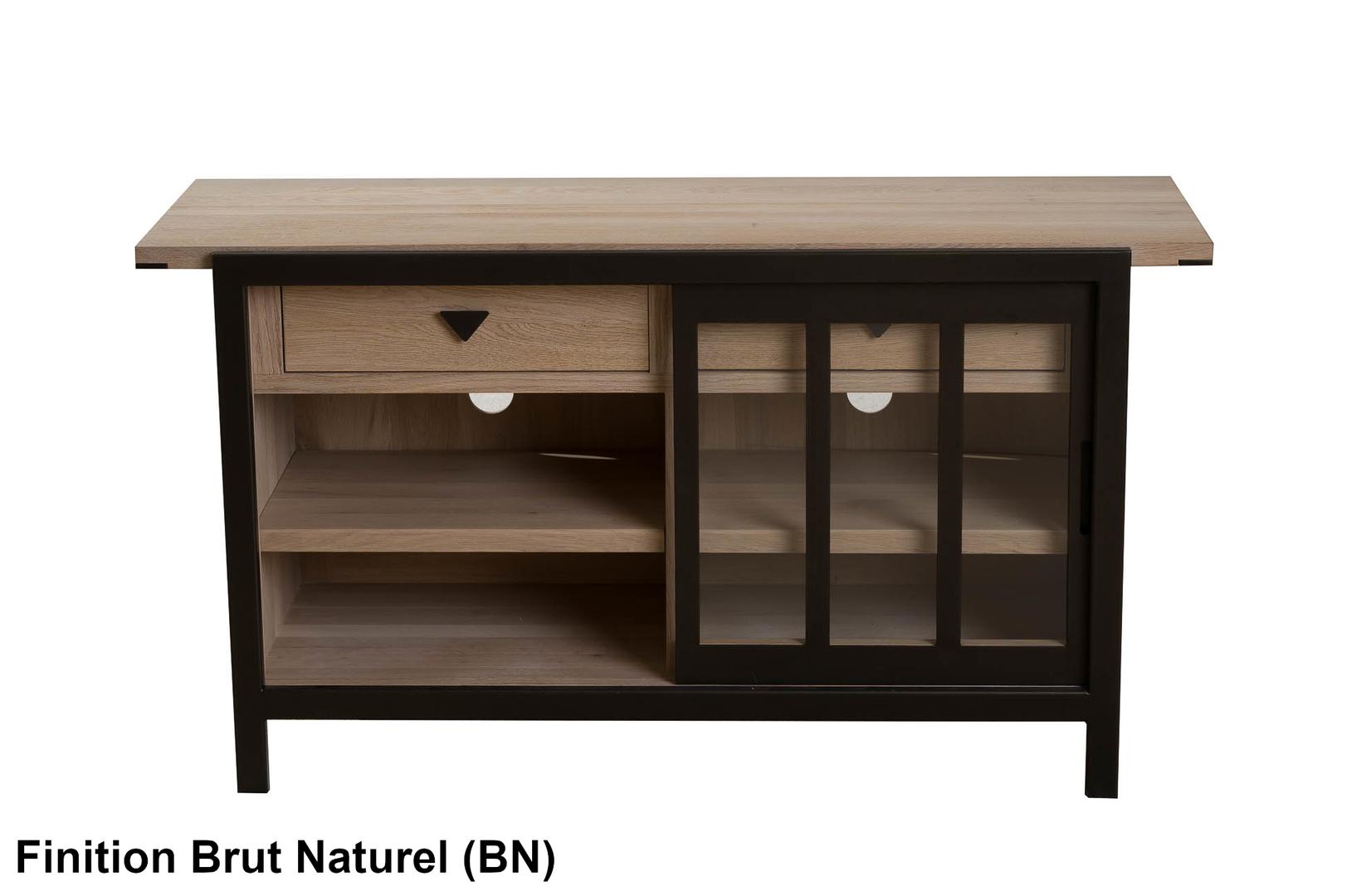 Meuble En Sapin Brut meuble tv 1 porte vitrée 130cm verrière