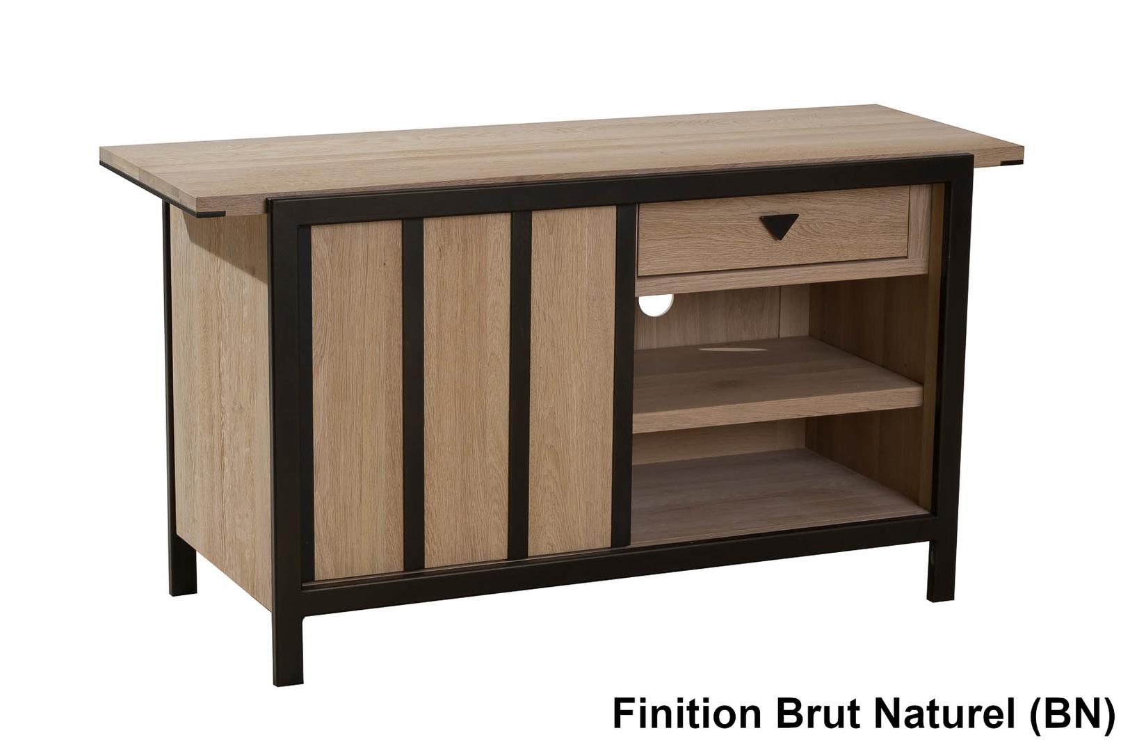 Meuble En Sapin Brut meuble tv 1 porte 130cm verrière