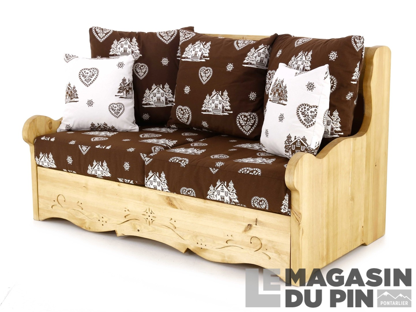 canap 2 places pin massif courchevel chocolat le magasin du pin. Black Bedroom Furniture Sets. Home Design Ideas