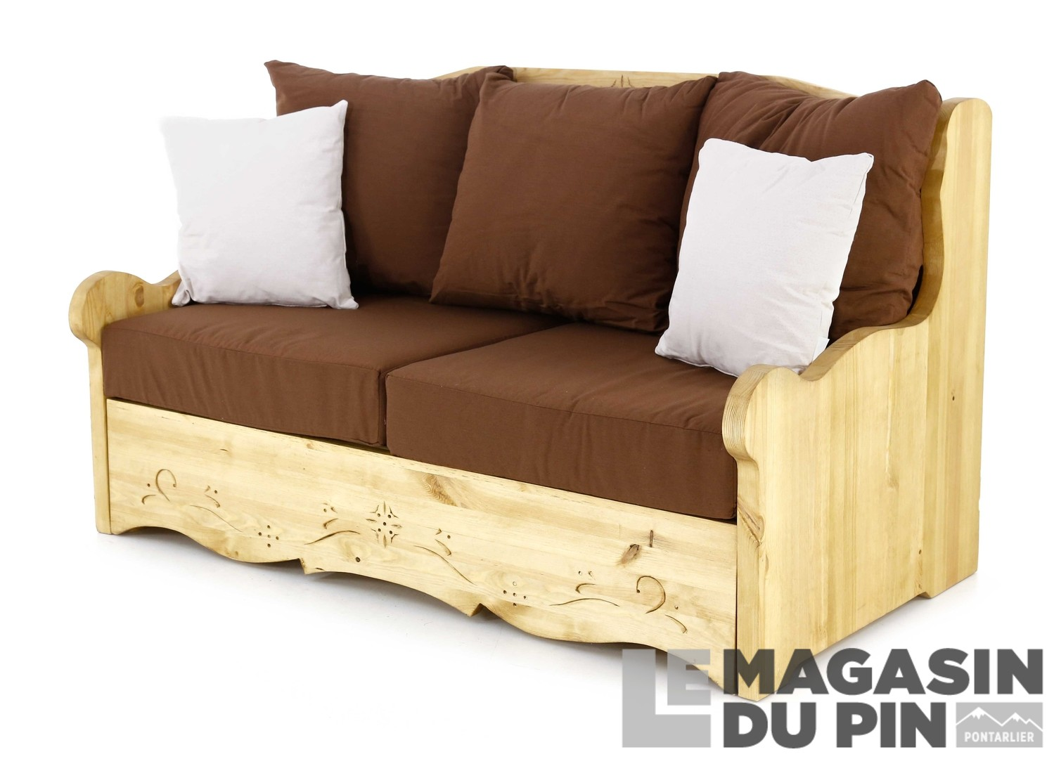Canap 2 places pin massif liso chocolat le magasin du pin for Canape upload