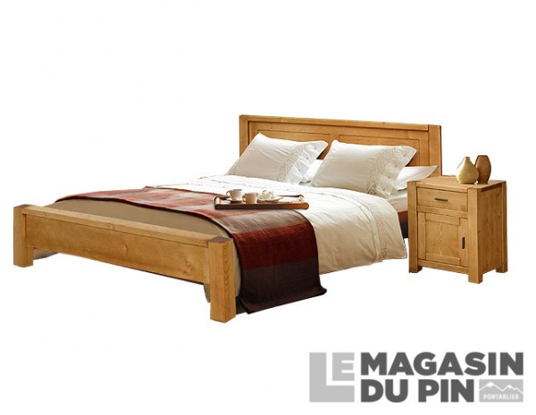 lit en pin massif 90x190 adriana pieds bas le magasin du pin. Black Bedroom Furniture Sets. Home Design Ideas