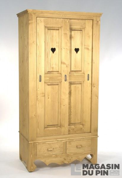 Armoire en pin massif 2 portes coulissantes chamonix le magasin du for Armoire pin massif porte coulissante