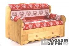 Canapé 2P 1 tiroir Chamonix Rouge/Blanc bandes