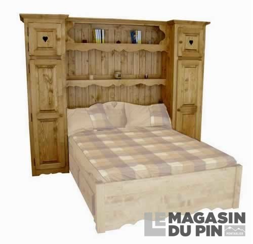 meuble complet pin massif pont de lit 160 cm le magasin du pin. Black Bedroom Furniture Sets. Home Design Ideas