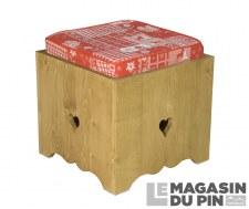 Tabouret pouf Chamonix avec assise tissu