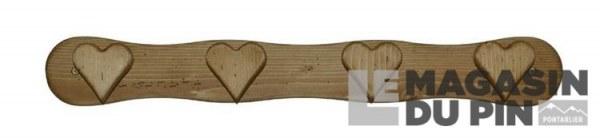 Patère 4 crochets cœurs Chamonix
