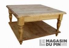 Table basse carrée Chamonix pieds tournés