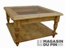 Table basse carrée verre Chamonix pieds tournés