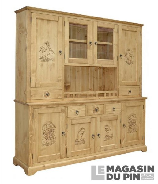meuble 2 corps meuble chalet pin massif sculpture montagne 8 portes. Black Bedroom Furniture Sets. Home Design Ideas
