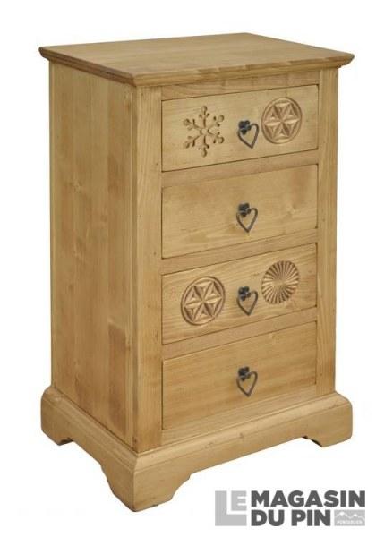 Confiturier 4 tiroirs meuble chalet en pin massif sculptures montagne - Meuble confiturier ...