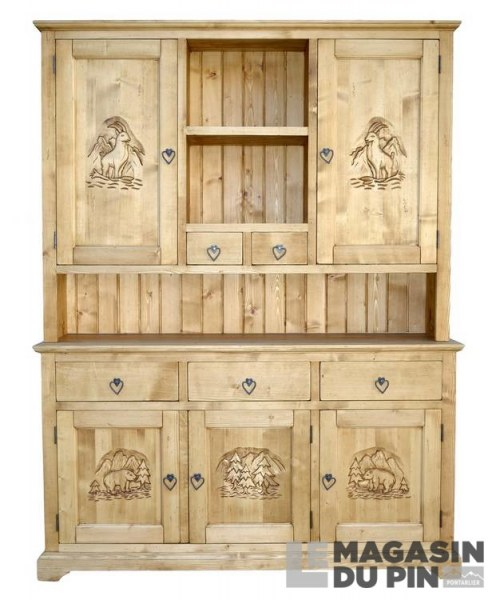meuble 2 corps pin massif meuble chalet 3 portes sculptures montagne. Black Bedroom Furniture Sets. Home Design Ideas