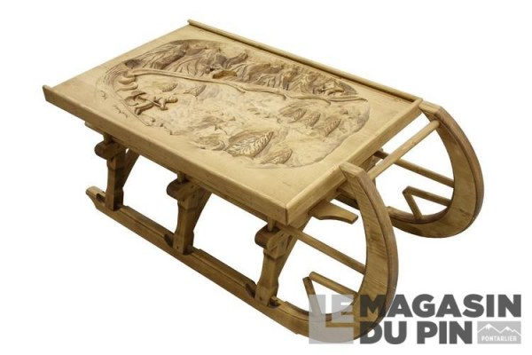 table basse luge pin massif meuble chalet sculpture montagne le magasin. Black Bedroom Furniture Sets. Home Design Ideas