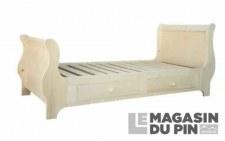 Lit double Louis-Philippe 140x190cm 4 tiroirs