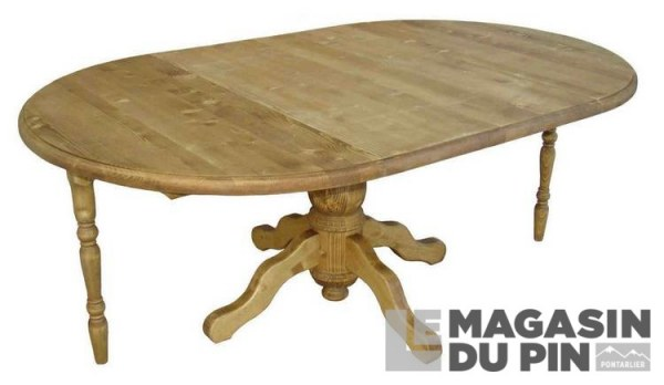 table ronde pin massif 2 allonges pied central transilvania le magasin. Black Bedroom Furniture Sets. Home Design Ideas