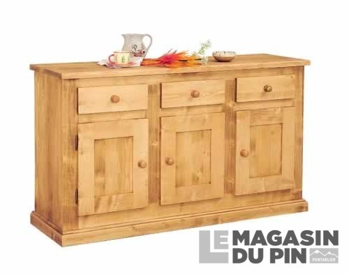 bahut pin massif haut chablais 3 portes transilvania le magasin du. Black Bedroom Furniture Sets. Home Design Ideas