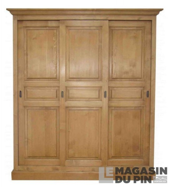 Armoire pin massif 3 portes coulissantes transilvania le magasin du for Armoire pin massif porte coulissante