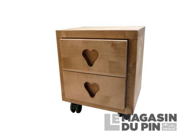 Chevet cube 2 tiroirs roulettes