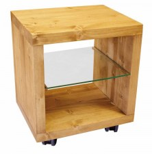 Cube 1 case sur roulettes étagère verre