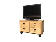 Meuble TV Cube 4 tiroirs roulettes