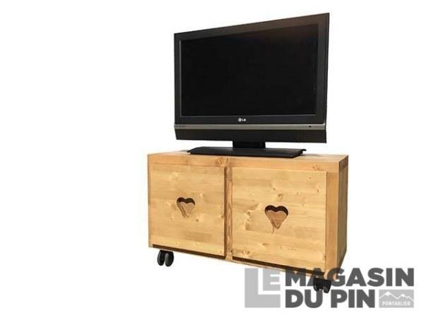 Meuble TV Cube 2 portes roulettes