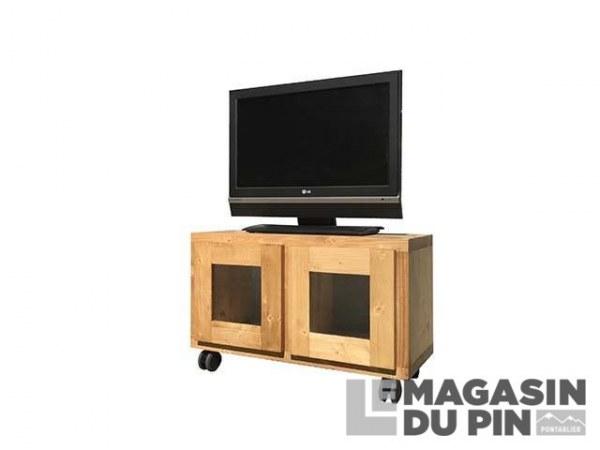 Meuble TV Cube 2 portes vitrées roulettes