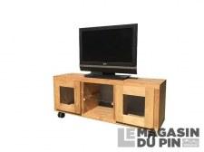 Meuble TV Cube 2P vitrées 1 étagère roulettes