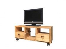 Meuble TV Cube 2 tiroirs 1 étagère roulettes