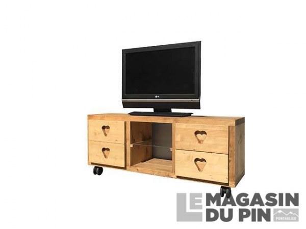Meuble TV Cube 4 tiroirs 1 étagère roulettes